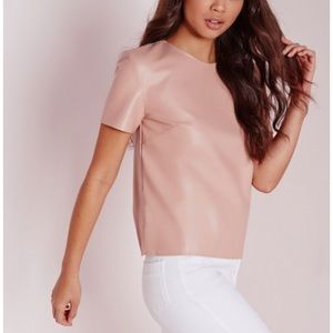 NWT Missguided Faux Leather Tee in Blush